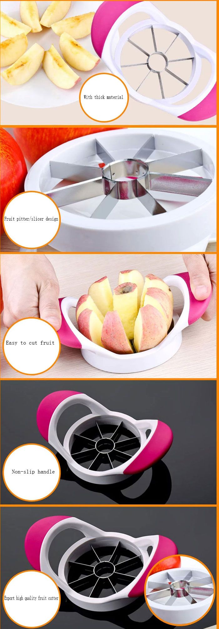 Stainless Steel Apple Cutter Tools Fruit Slicer