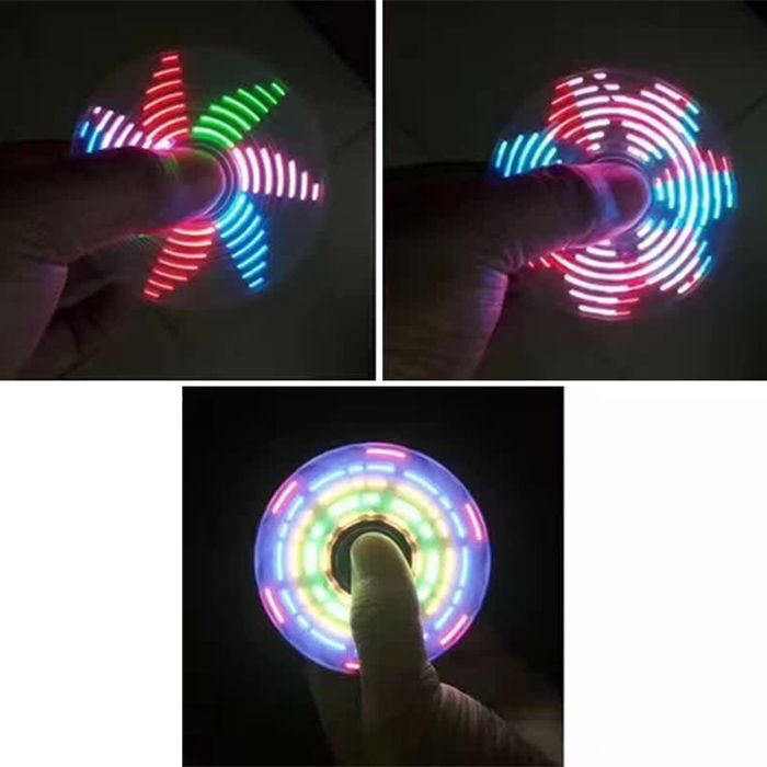 Electroplated Tri-bar Fidget Spinner with 18 Patterns LED Light