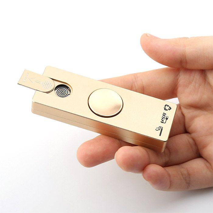 Fidget Toy LED Light Alloy USB Cigar Lighter Hand Spinner