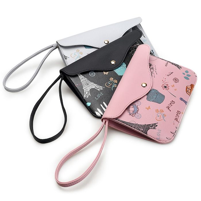 PU Leather Cartoon Print Wristlet