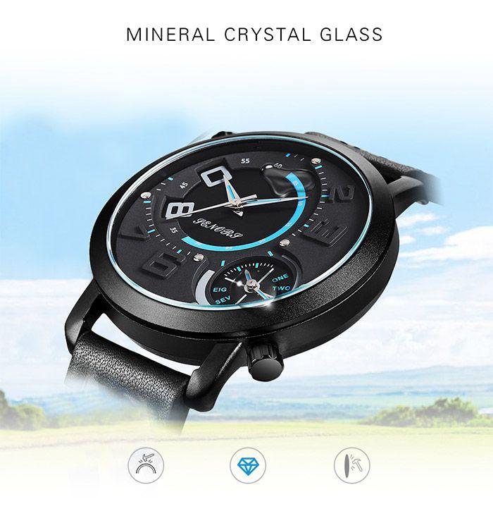 Faux Leather Strap Dual Quartz Wrist Watch