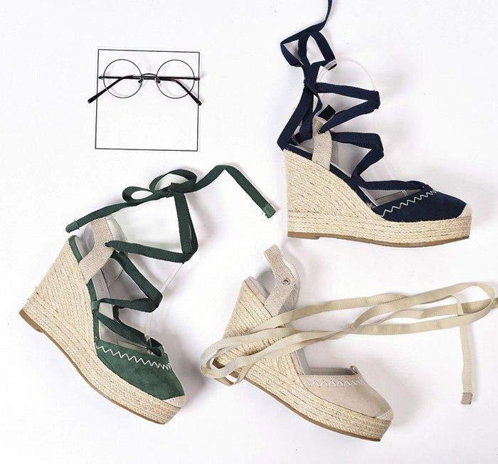 Tie Up Espadrille Wedge Shoes
