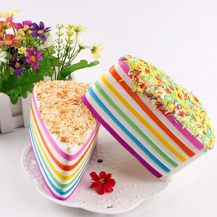 Layered Rainbow Cake Decompression Squishy Charms Toy
