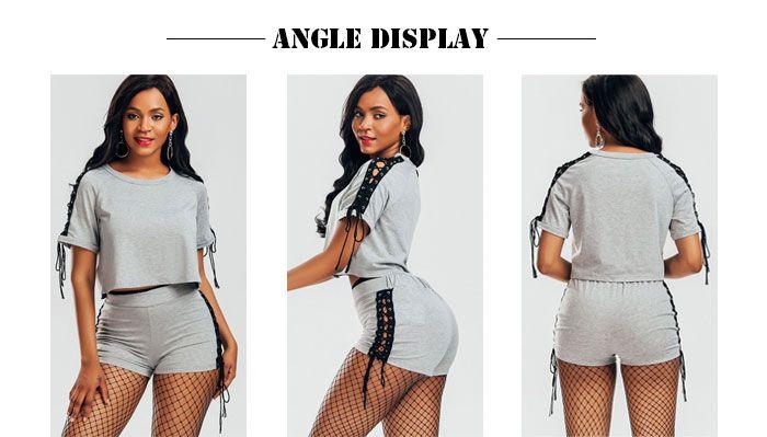Raglan Sleeve Lace Up T-shirt and Shorts