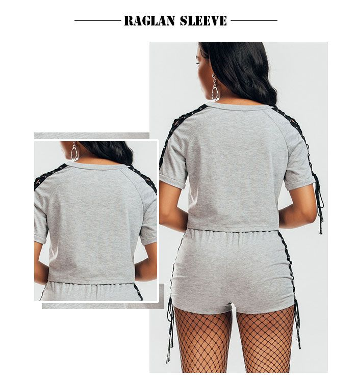 Raglan Sleeve Lace Up T-shirt and Shorts