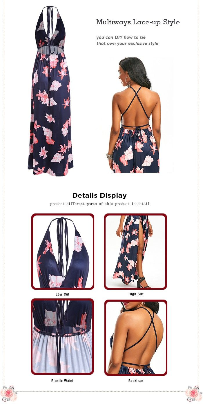 Floral High Slit Low Cut Maxi Dress