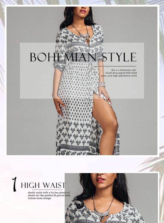 Bohemian Tribal Print Button Down Split Dress