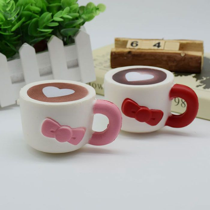 Slow Rising Squishy Toy Heart Bowknot Simulation Cup