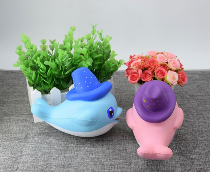 Scented Simulation Magic Hat Dolphin Cartoon Squishy Toy, BLUE in Squishy Toys DressLily.com