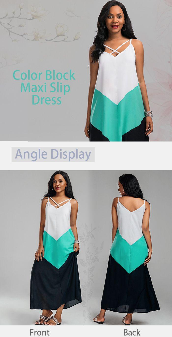 Criss-cross Color Block Maxi Slip Dress