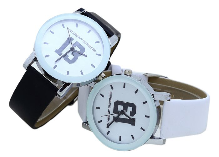 PU Leather Band Number Quartz Watch