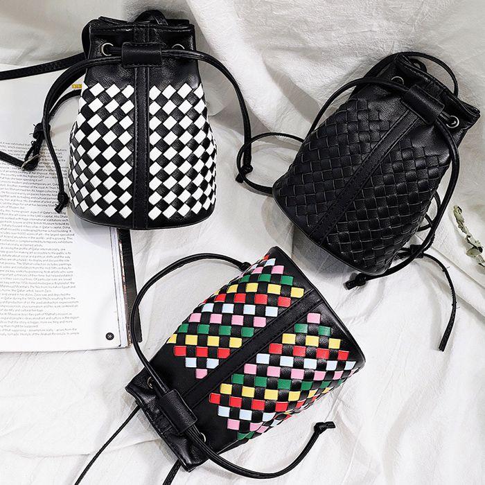 Woven Mini Drawstring Bucket Bag