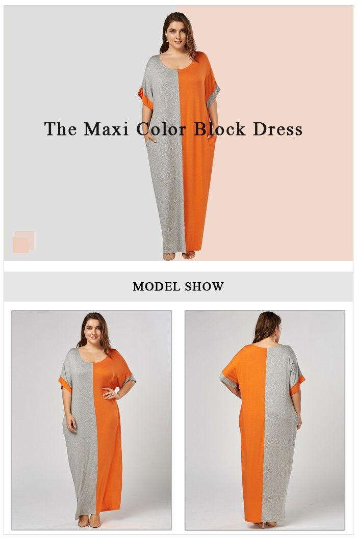 Plus Size Maxi Color Block Baggy T-shirt Dress