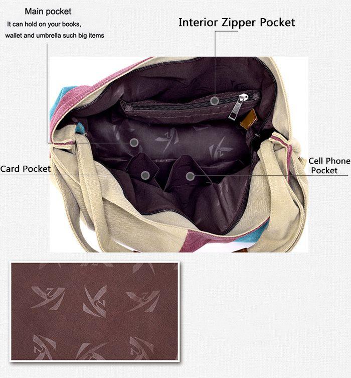 Zip Color Block Canvas Tote Bag