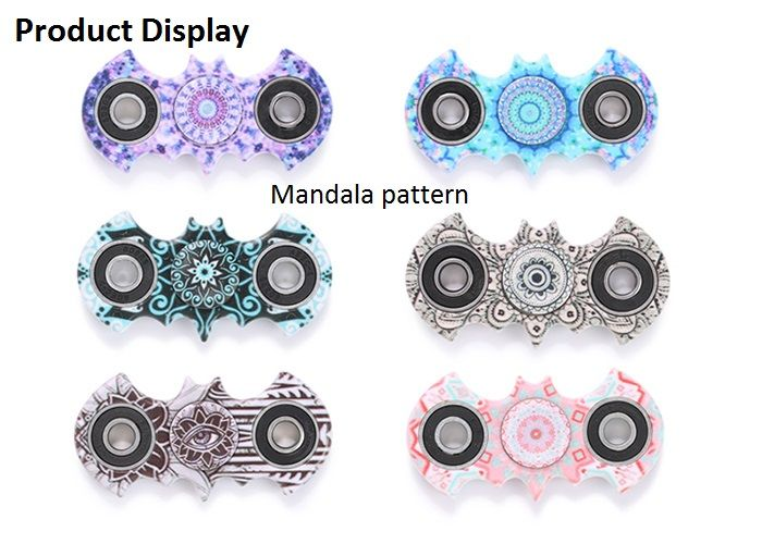 Fiddle Toy Plastic Mandala Patterned Bat Fidget Spinner