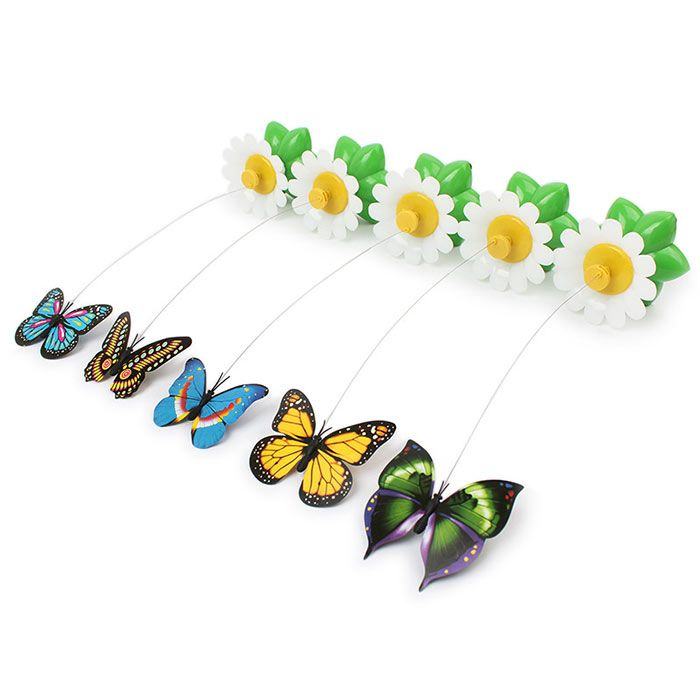 Plastic Electric Dancing Butterfly Around Flower Cat Toy