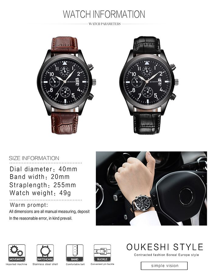OUKESHI Faux Leather Strap Date Number Watch