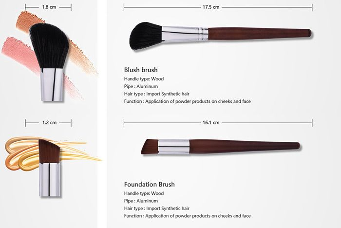 10Pcs Aluminum Tube Nylon Makeup Brushes Set