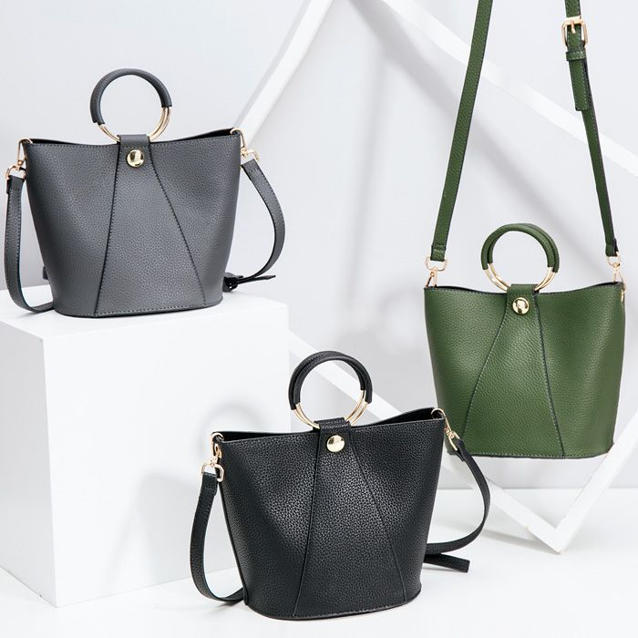 Faux Leather Metal Ring Handbag