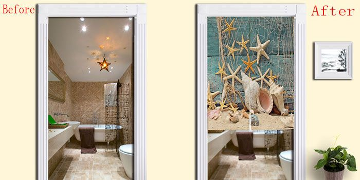 Beach Starfish Print Bathroom Decor Door Curtain