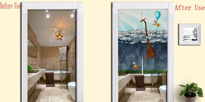 Cartoon Giraffe Pattern Bathroom Door Curtain