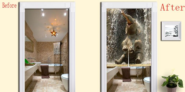 Elephant Pattern Bathroom Animal Door Curtain