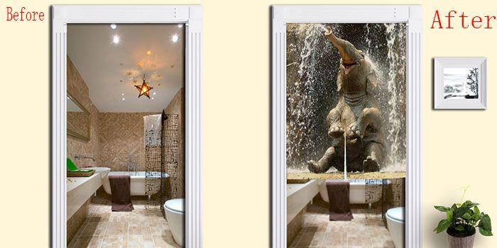 Elephant Pattern Bathroom Animal Door Curtain