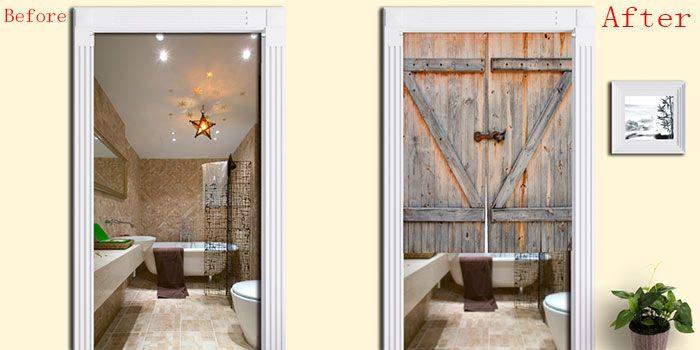 Rustic Country Wooden Door Print Door Curtain