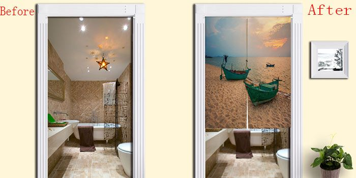 Beach Boat Print Bathroom Door Curtain