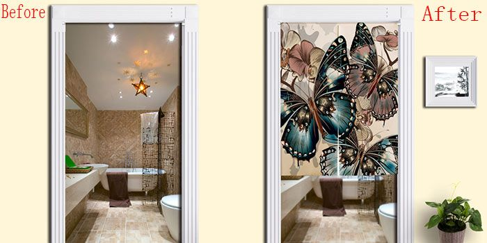 Bathroom Decor Butterflies Pattern Door Curtain