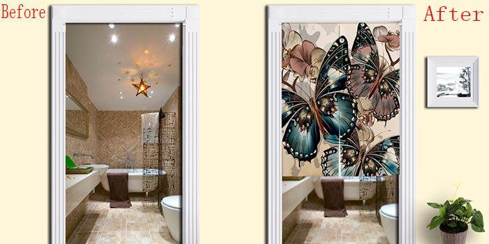 Bathroom Decor Butterflies Pattern Door Curtain