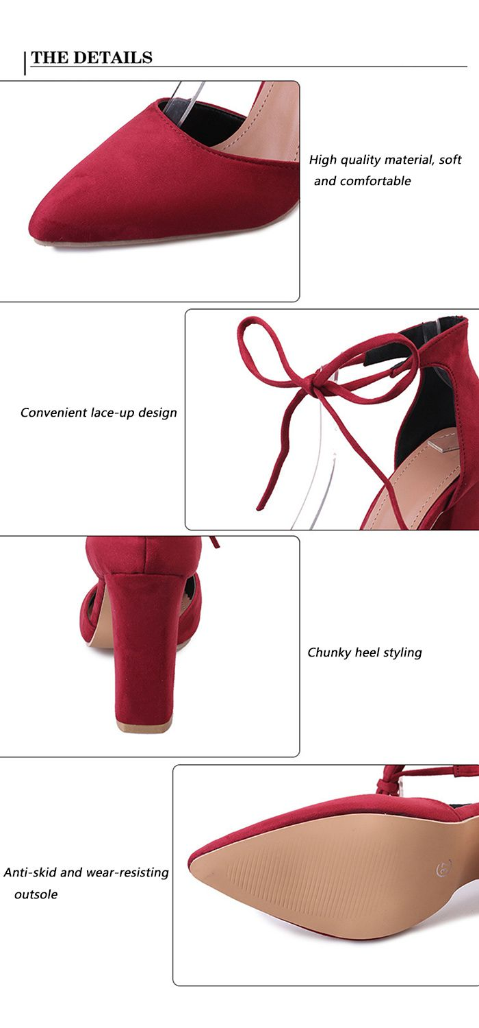 Ankle Tie Block Heel Suede Pumps