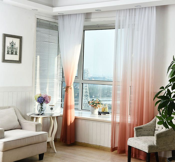 1PC Gradient Color Voile Transparent Window Curtain