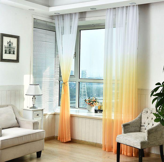 1PC Gradient Color Voile Transparent Window Curtain