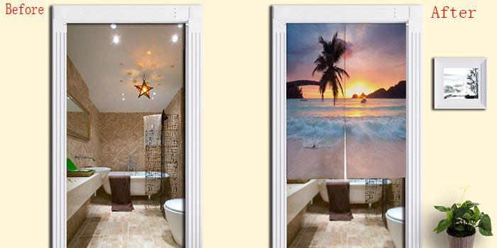 Beach Scenery Print Fabric Home Door Curtain