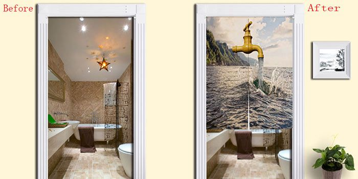 Sea and Faucet Print Home Door Curtain