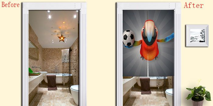 Parrot Football Print Cotton Linen Door Curtain