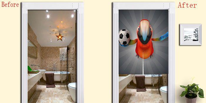Parrot Football Print Cotton Linen Door Curtain