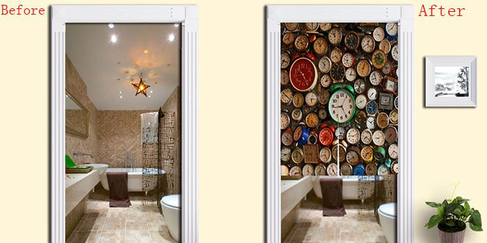Full Clock Print Home Product Door Curtain