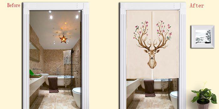 Flower Deer Print Cotton Linen Home Door Curtain