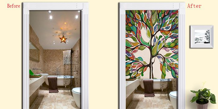 Artistic Colorful Tree Home Product Door Curtain