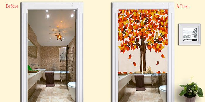 Home Product Fall Tree Print Door Curtain