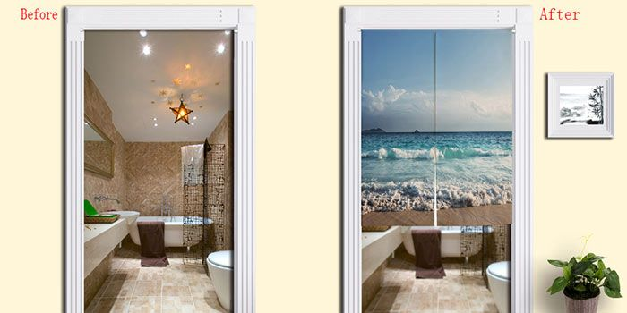 Cotton Linen Sea Beach Print Home Door Curtain