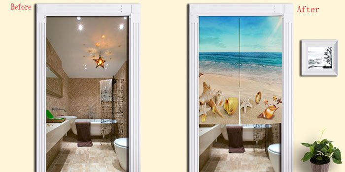 Beach Scenery Cotton Linen Door Curtain