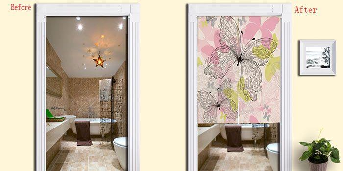 Butterflies Pattern Cotton Linen Home Door Curtain