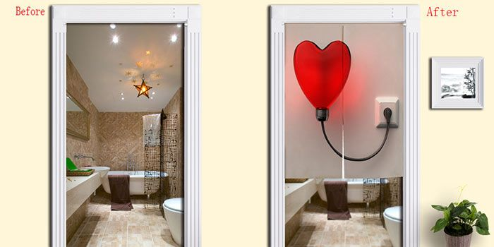 Heart Shape Balloon Light Print Home Door Curtain
