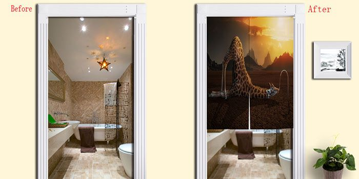 Giraffe Drink Water Pattern Home Door Curtain