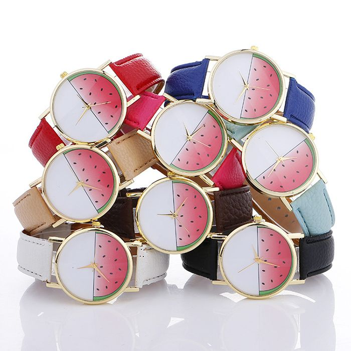 Faux Leather Strap Watermelon Face Watch
