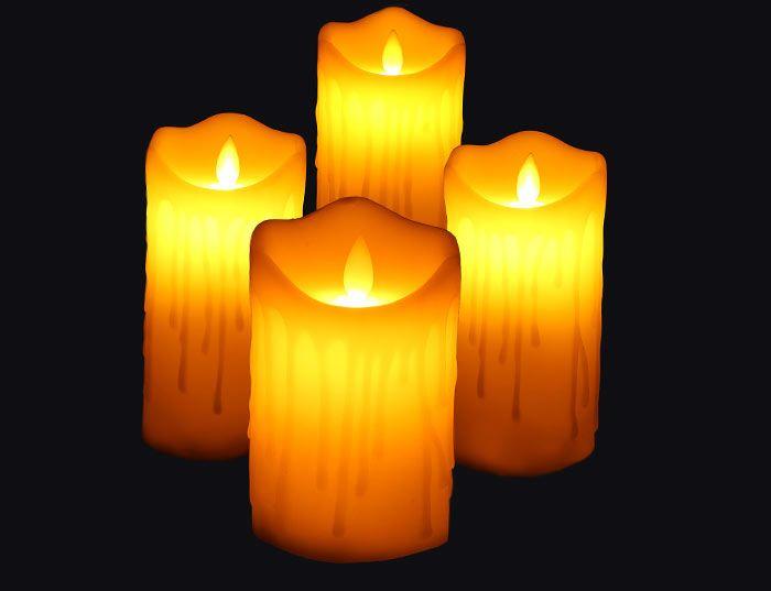 Electronic Swing Pillar Shape Large Candle Night Light