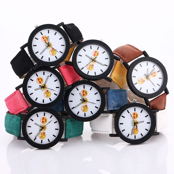 Faux Leather Strap Emoticon Face Watch